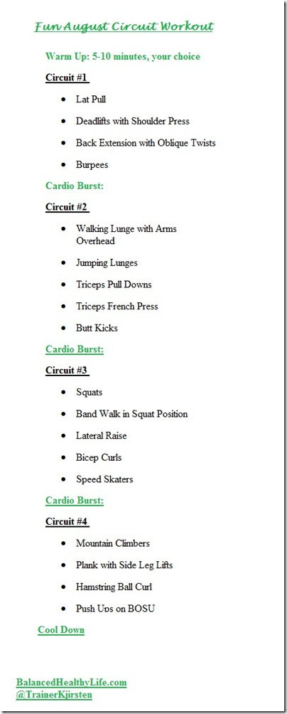 Workout of the Week August 8 2012