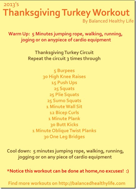 2013 Thanksgiving Turkey Workout